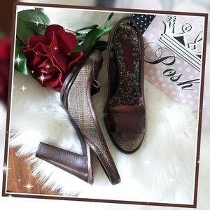 KENZO Brown Tweed Plaid Slingback Heels